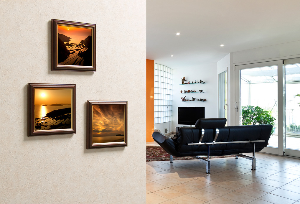 framed novelty photos on wall in living room
