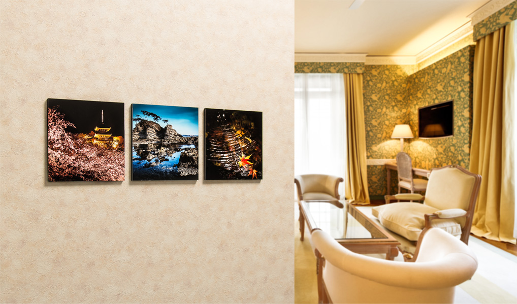 pfb novelty photos on wall in living room