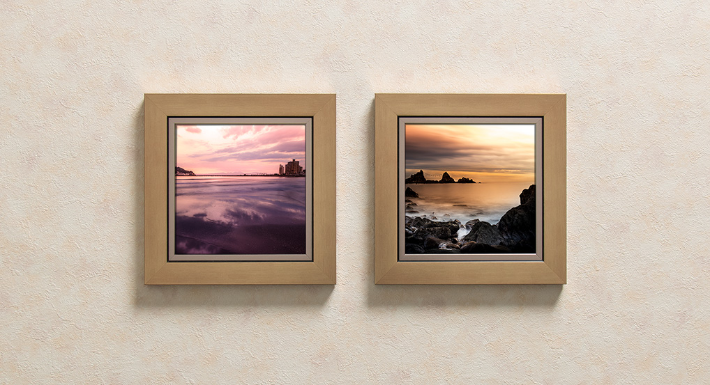 framed novelty photos on wall